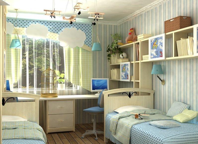 Фото дизайна детской комнаты на две девочки